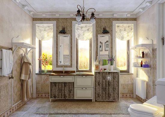 Дизайн интерьера ванной в стиле прованс - фото